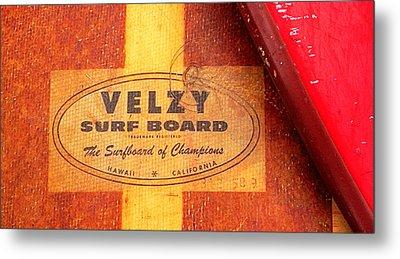 Velzy Surf Board Metal Print by Ron Regalado