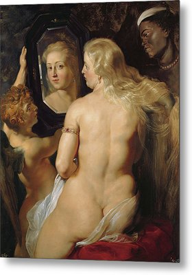 Venus In A Mirror Metal Print by Peter Paul Rubens