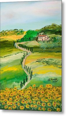 Metal Print featuring the painting Verde Sentiero by Loredana Messina