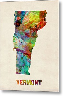 Vermont Watercolor Map Metal Print by Michael Tompsett