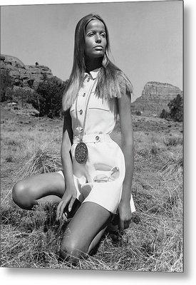 Veruschka Von Lehndorff Wearing Ginala Culottes Metal Print by Franco Rubartelli