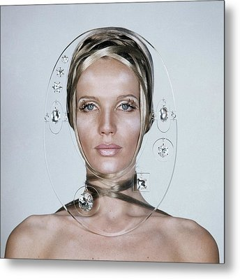 Veruschka Von Lehndorff's Face Framed By Clear Metal Print