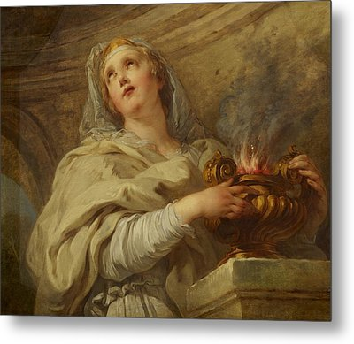 Vestal Virgin Metal Print by Francois Lemoyne