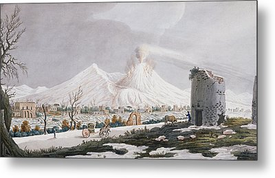 Vesuvius In Snow, Plate V From Campi Metal Print by Pietro Fabris