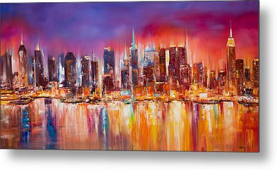 Vibrant New York City Skyline Metal Print by Manit