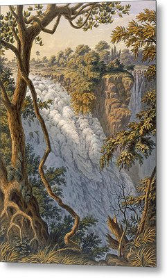 Victoria Falls The Leaping Water Metal Print by Thomas Baines
