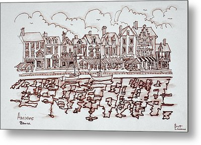 View Along The Waterfront, Amiens Metal Print