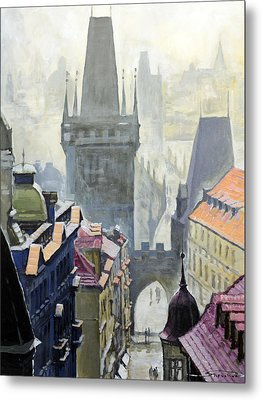 View From The Mostecka Street In The Direction Of Charles Bridge Metal Print by Yuriy Shevchuk