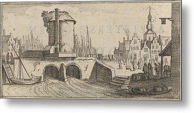 View Of A Bridge In A City, Print Maker Jan Van De Velde II Metal Print