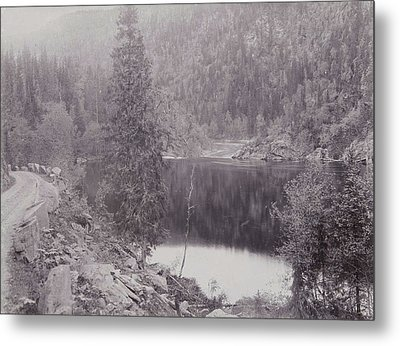 View Of A Lake In A Mountain Landscape Norway Metal Print