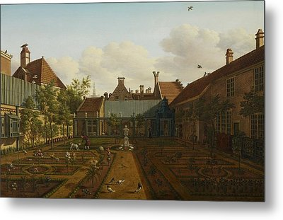 View Of A Town House Garden In The Hague Metal Print by Paulus Constantin La Fargue