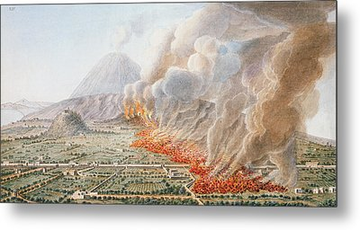 View Of An Eruption Of Mount Vesuvius Metal Print by Pietro Fabris