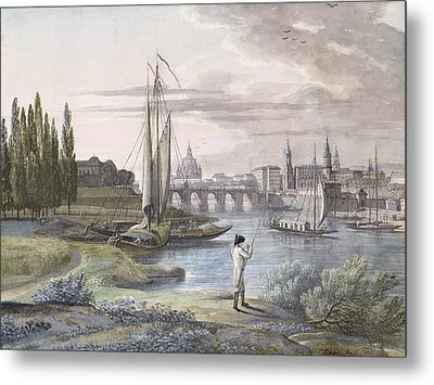 View Of Dresden And The River Elbe, 1806 Metal Print by C. Roes