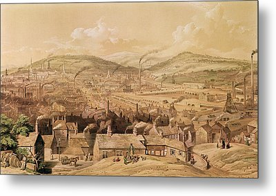 View Of Industrial Sheffield Metal Print by English School