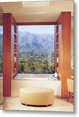 View Of Mountain Through Bathroom Window Metal Print