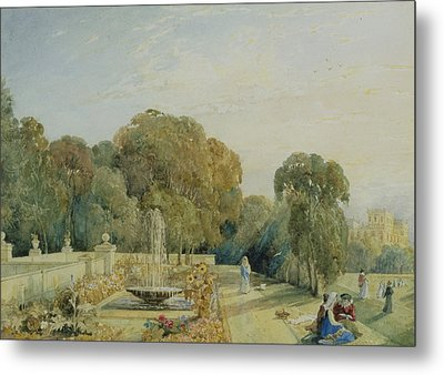 View Of The Gardens At Chatsworth Metal Print