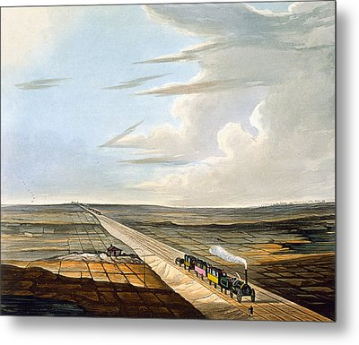 View Of The Railway Across Chat Moss Metal Print by Thomas Talbot Bury