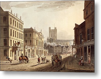 View Of The Town Hall, Market And Abbey Metal Print by John Claude Nattes