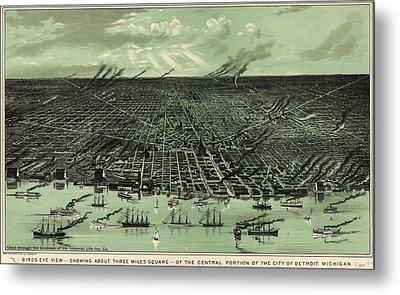 Vintage 1889 Detroit Michigan Map Metal Print