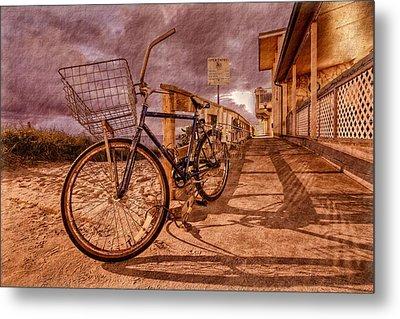 Vintage Beach Bike Metal Print by Debra and Dave Vanderlaan
