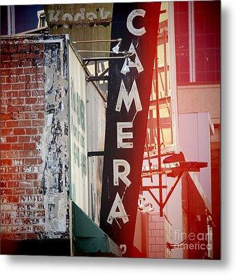 Vintage Camera Sign Metal Print by Nina Prommer
