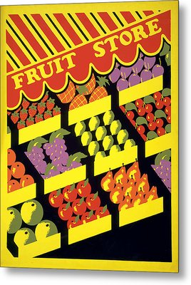 Metal Print featuring the painting Vintage Fruit Stand by American Classic Art