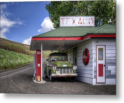 Vintage Gas Station - Chevy Pick-up Metal Print by Nikolyn McDonald