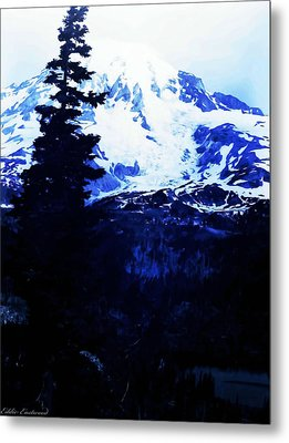 Metal Print featuring the photograph Vintage Mount Rainier And Reflexion Lake In The Foreground Early 1900 Era... by Eddie Eastwood