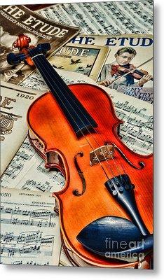 Vintage Music And Violin Metal Print by Paul Ward
