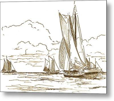 Vintage Oyster Schooners  Metal Print by Nancy Patterson