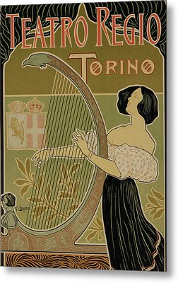 Vintage Poster Advertising The Theater Royal Turin Metal Print