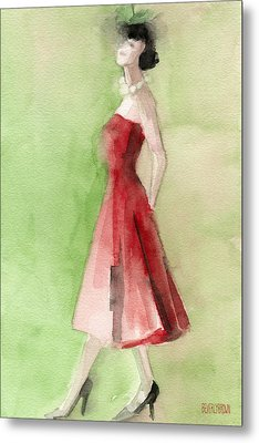 Vintage Red Cocktail Dress Fashion Illustration Art Print Metal Print by Beverly Brown
