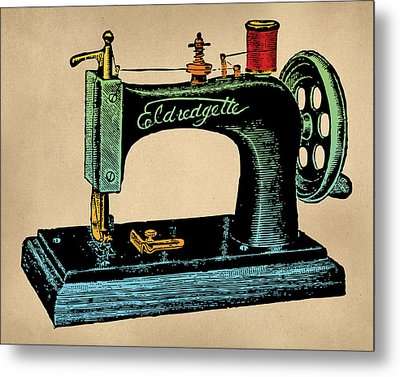 Vintage Sewing Machine Illustration Metal Print by Flo Karp