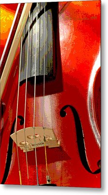 Violin And Bow Digital Painting Metal Print by A Gurmankin