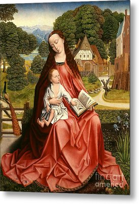 Virgin And Child In A Landscape Metal Print by Master of the Embroidered Foliage