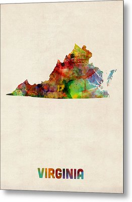 Virginia Watercolor Map Metal Print by Michael Tompsett