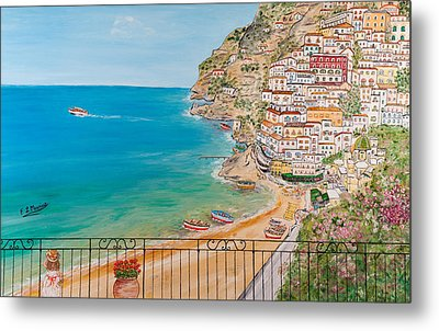 Metal Print featuring the painting Vista Su Positano by Loredana Messina