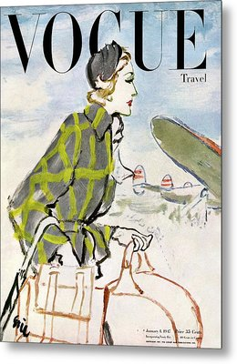Vogue Cover Featuring A Woman Carrying Luggage Metal Print by Carl Oscar August Erickson