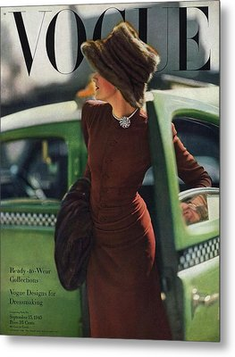 Vogue Cover Featuring A Woman Getting Metal Print by Constantin Joffe