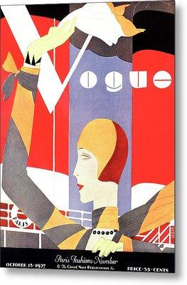 Vogue Cover Featuring A Woman Waving Metal Print by Eduardo Garcia Benito