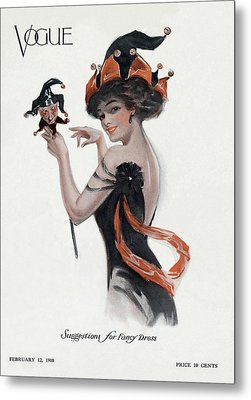 Vogue Cover Of Woman As Jester Metal Print by Artist Unknown