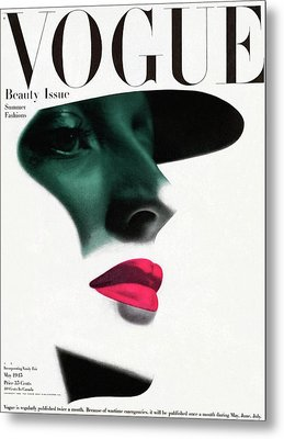 Vogue Cover Featuring A Woman's Face Metal Print by Erwin Blumenfeld