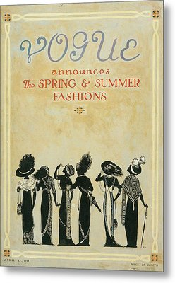 Vogue Cover Illustration Featuring Six Female Metal Print
