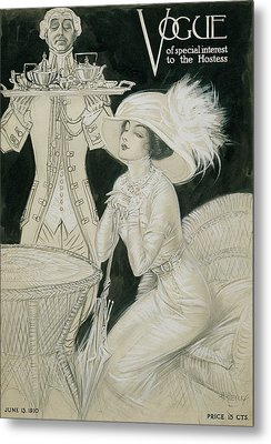 Vogue Cover Illustration Of A Valet Carrying Metal Print by H. Heyer