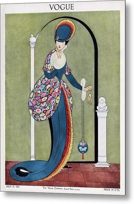 Vogue Cover Illustration Of A Woman In A Blue Metal Print by George Wolfe Plank