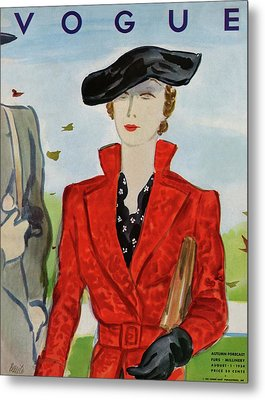 Vogue Cover Illustration Of A Woman In A Red Coat Metal Print by Eduardo Garcia Benito