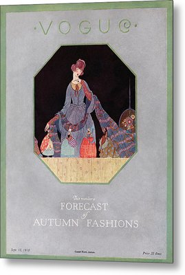 Vogue Cover Illustration Of A Woman Looking Metal Print