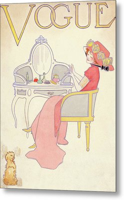 Vogue Cover Illustration Of A Woman Sitting Metal Print