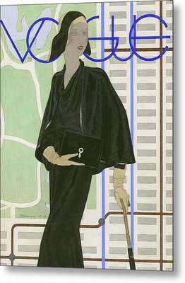 Vogue Cover Illustration Of A Woman Wearing Metal Print by Pierre Mourgue