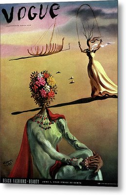 Vogue Cover Illustration Of A Woman With Flowers Metal Print by Salvador Dali